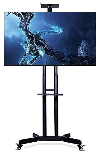 TabloKanvas Soporte de TV para pantallas LCD OLED de plasma planas curvadas de 32 a 70 LED, altura ajustable base de cristal (color negro)