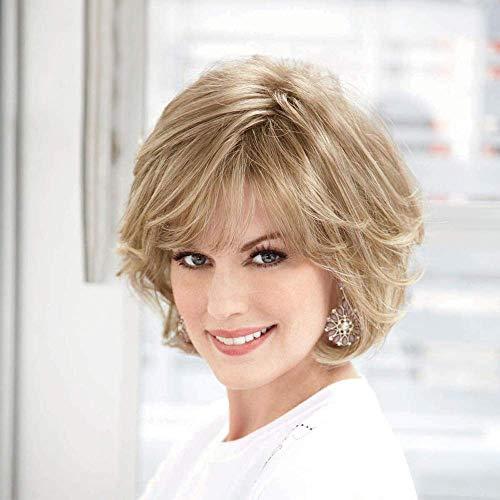 HAIRCUBE Blonde Echthaar Perücken für Frauen Gemischte Gesunde Kunstfaser Layered Perücke Mit Seitenteil, Natürliche Tägliche Verwendung (Farbe 30/613)