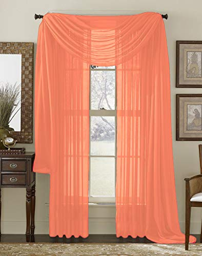 Interior Trends 3 Piece Fully Stitched Sheer Curtain Panel Window Drapes and Scarf Set of 2 Panels and 1 Matching Scarf (63