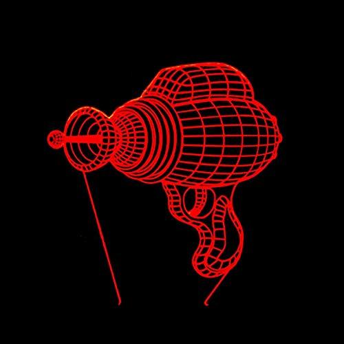 RMRM 3D Nachtlicht 3D 7 Farben Sci-Fi Electron Gun Stereo Vision Acryl Usb Nachtlicht Kinderzimmer Nachttisch Schreibtisch Dekorieren Touch Led-Lampe