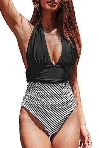 BUOYDM Trajes de una Pieza Mujeres Cintura Alta Rayas Cuello en V de Baño Trajes Bañador Conjunto de Bikini Push up Negro S
