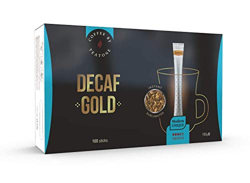 Teatone Decaf Coffee Gold im Stick | Instant Kaffee entkoffeiniert im praktischen Stäbchen | koffeinfreier Kaffee im Coffee Stick | löslicher Instantkaffee koffeinfrei | 100 kuvertierte Kaffee Sticks