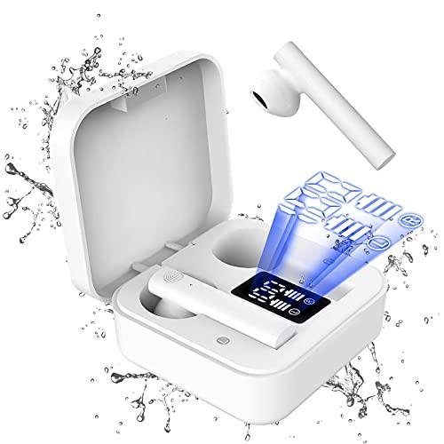 Cuffie Bluetooth Sport Auricolari Bluetooth 5.1 con Stereo HiFi, Cuffie Wireless con Microfono, 25 Ore di Riproduzione Cuffiette Bluetooth IPX8 Impermeabili, Cuffie con Display LED Tocco Intelligente