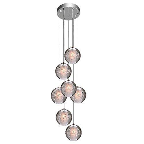 KJLARS Lampada a sospensione LED Lampadari moderna plafoniere Altezza regolabile Lampadario Adatto per soggiorno Tavolo da pranzo Scala Camera da letto Lámparas de araña (7 Lights)