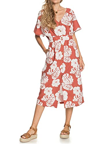 Roxy Vestido de Medio Largo con Manga Corta para Mujer Informal, Marsala Isha, M
