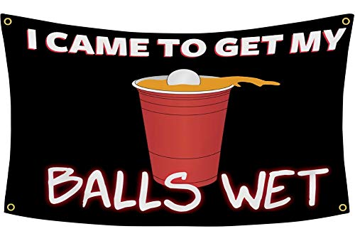 YD YONGDONG Students Athlete Beer Cup Pong Banner Flag Get My Ball Wet Funny Flag 3x5 Feet for College Dorm