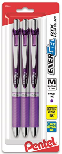 Pentel Pink BCA Pentel EnerGel RTX Retractable Gel Ink Pen Pack, (0.7mm), Medium Point, Metal Tip, Silver Barrel, Violet Ink, 3 Pack (BL77BP3V)