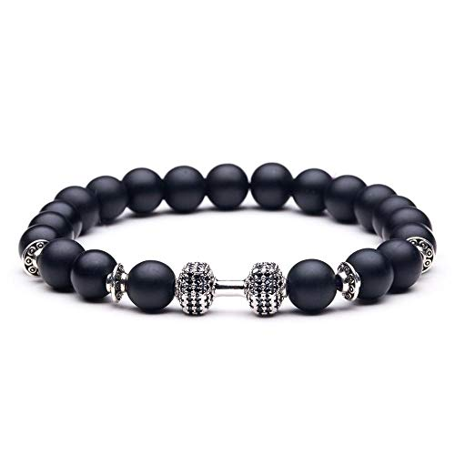 Bracelet Natürlicher Schwarzer Vulkanischer Lavastein-Hantelstrang-Armband Schwarze Matte Perlen-Armbänder Für Frauen Männer Fitness-Langhantel-Schmuck B020478B