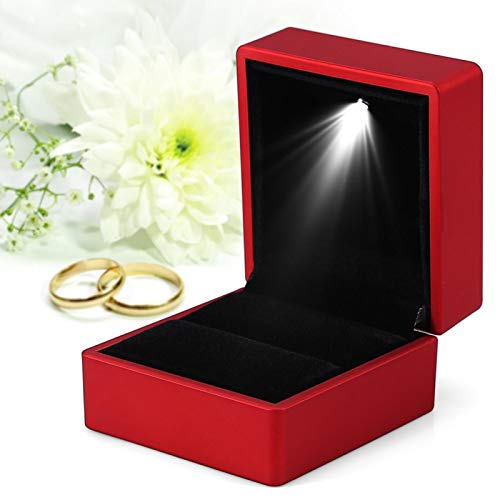 Caja de anillo con LED Caja de regalo con luz LED para compromiso de boda Caja de exhibición de joyería Caja de joyería para caja de joyería de anillo Rojo