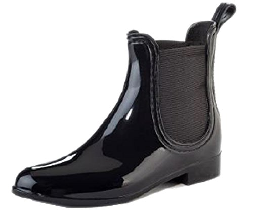 Henry Ferrera Women's Clarity Black Waterproof Ankle Rubber Rain Boots (8)
