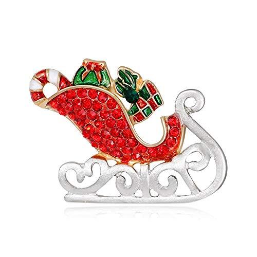 Brooch 2ST Red Weihnachtsmann Schlitten Zuckerstange Bowknot Brosche österreichischen Kristall