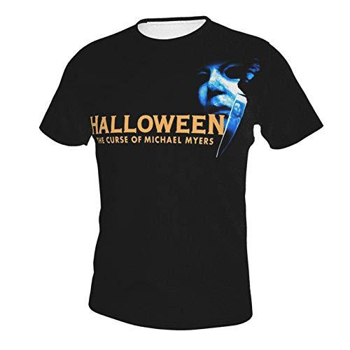 IUBBKI Camiseta básica de Manga Corta para Hombre Halloween The Curse of Michael Myers Men