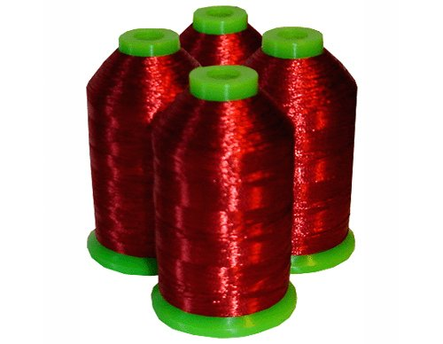Fantastic Prices! 4-cone Metallic Polyester Core Embroidery Thread Kit - RED - 1100 yards - 40wt