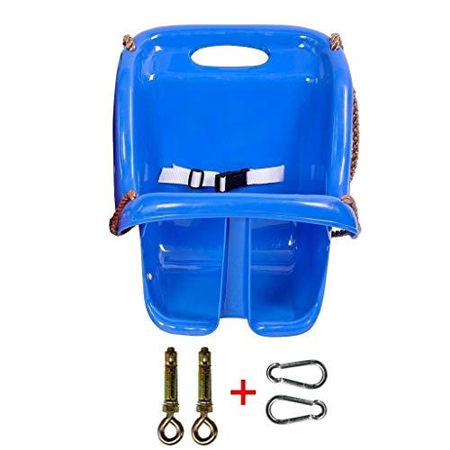 Ffshop Columpio Plegable Columpio Trasero Colgante de Canasta Columpio de plástico for Exteriores de 6 a 36 Meses Oscilación Ajustable (Color : Blue, tamaño : B)