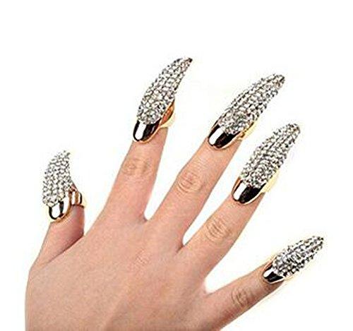 Unghie finte ad anello, a forma di artiglio, stile punk, con cristalli trasparenti, 5 pezzi