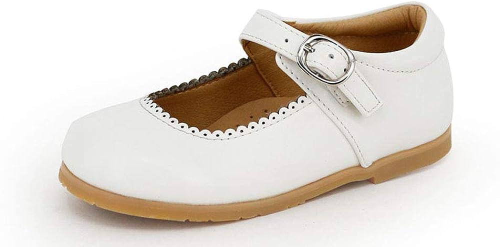 Picki Pairs Mary Jane Girls Leather Uniform School Dress Flat (Toddler & Little Kid) (12, White)