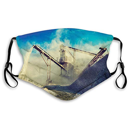 Women Men Multifunctional Half Face Bandana Reusable 3D Print Breathable Dust Protective Face Covering,Rock Stone Crushing Machine Open Pit Mining Quarry Sand Dust