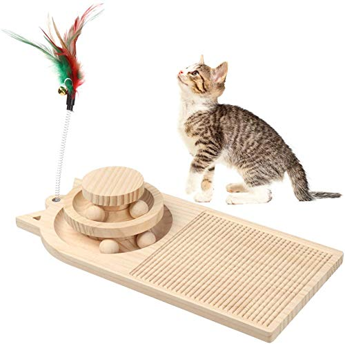 Cat Turntable Scratcher, Wooden Cat Scratching Pad, Two- Layer Cat Turntable with Interactive Balls and Cat Scratching Board, Cat Track Toys, Roller Cat Toy for Kitty Kittens, Pet Supplies