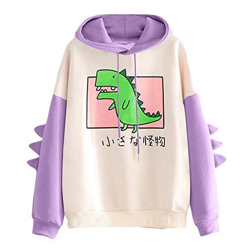 LPPL Sudadera con capucha para mujer, diseño de dinosaurio, manga larga, empalme, casual, sudaderas con capucha para adolescentes y niñas, Morado (, XXL