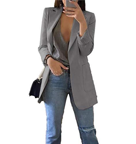 Open Front Casual Knit Blazer Jacket Lightweigh Boyfriend Cardigans for Women (Gray XXL)