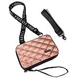 Flywill Handy Umhängetasche Mode Damen Schultertasche Hart ABS+PC Kofferform Kupplung Diamantgitter Handtasche mit Abnehmbar Schultergurt Handschlaufe Klein Tasche für Handy unter 6.5 Zoll, Roségold