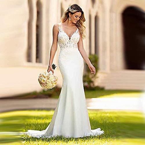 Cutfouwe Brautkleid Trompete,Hochzeitskleid Brautkleid,Brautkleider Meerjungfrau,Vintage V-Ausschnitt Brautkleider,Spitze Brautkleider,Hochzeitskleid Trompete,Weiß,20w