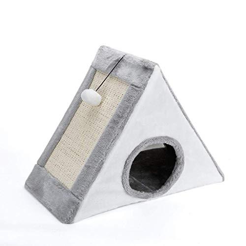 Zjcpow Haustier-Bett-Dreieck-Zelt Cat House Four Season Universal-Halb geschlossen Sisal Katzenbett weich (Farbe: Braun, Größe: 44 * 26 * 36cm) xuwuhz (Color : Gray, Size : 57 * 26 * 50cm)