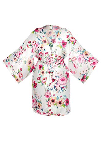 Uniek - Rose bloemenbadjas korte V-hals Kimono zonder de kap, uitwenst. Licht en zacht. Elegante en stijlvolle polyester lengte knielengte.