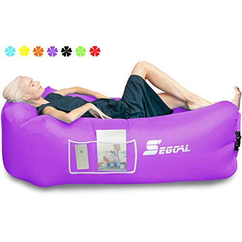 SEGOAL Inflatable Lounger Air Sofa Beach Bed Camping Chair Couch Hammock with Pillow Portable...