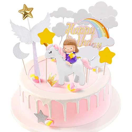 Unicorno Cake Topper Kit, Hilloly Topper Torta Unicorno Kit, , Decorazione Torta di Compleanno per Ragazza, Nuvola Arcobaleno Palloncino Happy Birthday Banner per Ragazzi Ragazze Bambini Compleanno