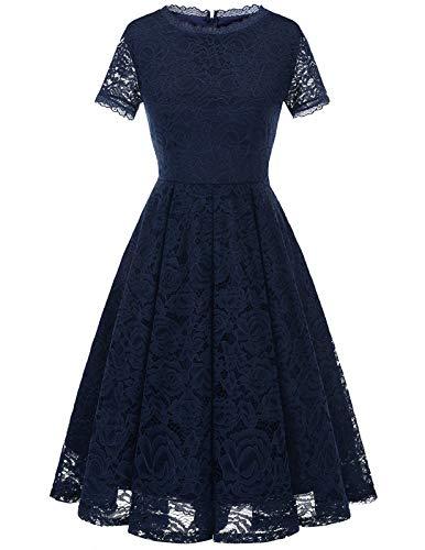 DRESSTELLS Damen Kleider für hochzeitsgäste Elegant Spiztenkleid mit Kurzarm Navyblau Abendkleid midilang Navy S