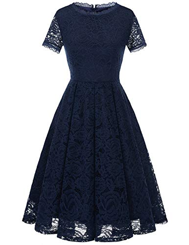DRESSTELLS Damen Kleider für hochzeitsgäste Elegant Spiztenkleid mit Kurzarm Navyblau Abendkleid midilang Navy L