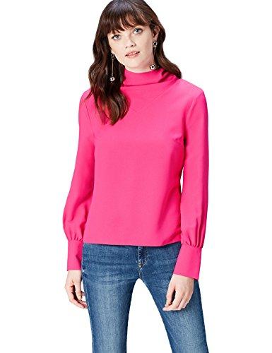 Marca Amazon - find. AN5478, Blusa de Cuello Alto Para Mujer, Rosa (Fuchsia Pink), 42, Label: L
