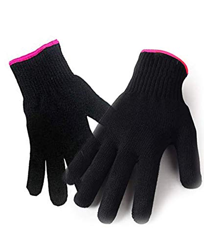 2 Heat Resistant Glove for Hair Styling, Curling Iron, Flat Iron and Curling Wand, Black, Pink Edge