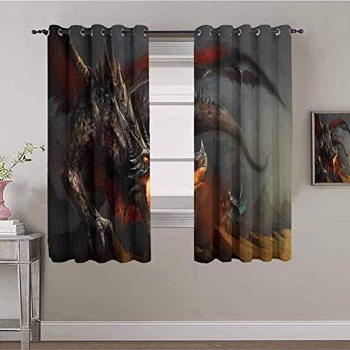 Azbza Cortinas Opacas Salón - Oscuro dragón monstruo guerra - 90% Opacas Proteccion Intimidad - W180 x H200 cm - Salón Dormitorio Cortina Gruesa y Suave para Oficina Moderna Decorativa Cortinas