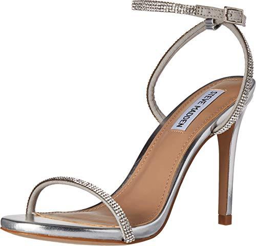 Steve Madden Women's Festive Heeled Sandal, Silver, 7.5 M US