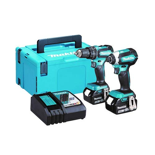 Makita DLX2283TJ 18V Li-ion LXT Brushless 2 Piece Combo Kit comprising DHP485Z and DTD153Z, Complete with 2 x 5.0 Ah Li-ion Batteries and Charger Supplied in a Makpac Case