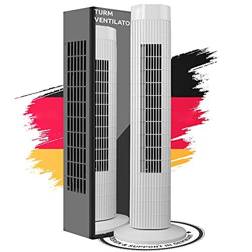 Turmventilator Säulenventilator leise 3 Stärke Stufen Ventilator Schwenkmodus 60° Oszillation drehen 2 h Timer / Std. Timerfunktion 76 cm hoch umweltfreundlich 45 Watt stabiler Standfuß