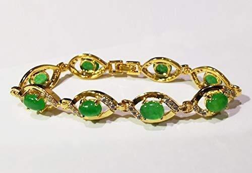 Collar de Moda para Mujer Jade Verde Natural de 18 cm Pulsera Plateada Verde Esmeralda Izar