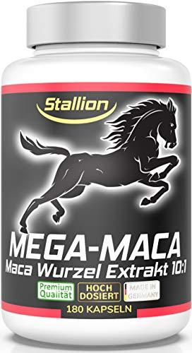Stallion MEGA MACA extra stark + hochdosiert - Maca Wurzel Extrakt 10:1, 180 Kapseln ohne Füll- & Trennmittel / 11.800mg Maca Wurzel Pulver pro Tagesdosis* 1 Dose (1x127,8g) starte durch mit Stallion!