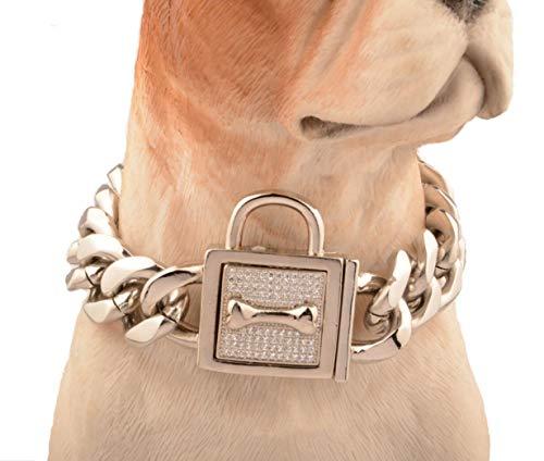 Top Hond Kraag Gepersonaliseerde RVS 19Mm 18K Goud Grote Hond Training Kraag Cubaanse Link met Witte Diamant Button Hond Ketting Genoeg Kraag