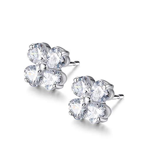 KGDC Earrings Clover earrings female sterling silver new tide simple net red temperament earrings ear jewelry Ear Stud Jewelry