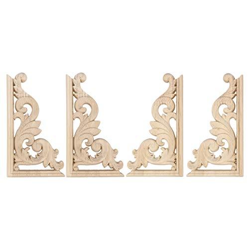 HEALLILY Aplique de puerta sin pintar de esquina de madera tallada apliques para muebles para el hogar decoraciones europeas 13x7 cm 4 piezas