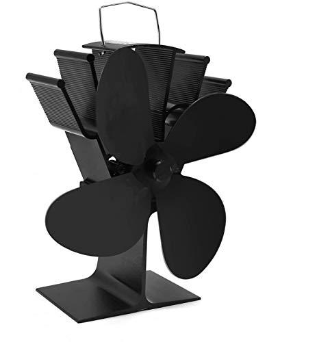 Cheffort Fireplace Fan Heat Powered Stove Fan 4 Blade Wood Stove Fans Aluminium Silent Eco-Friendly for Wood Log Burner Fireplace