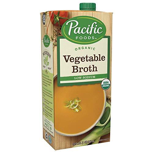 Pacific Foods Organic Vegetable Broth, Low Sodium, 32oz, 12-pack Keto Friendly