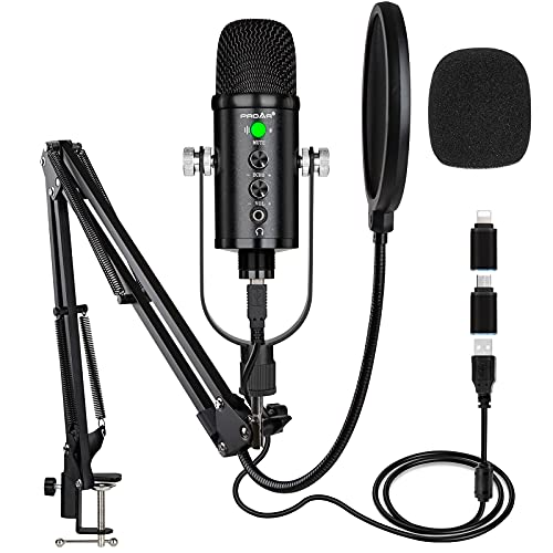 USB Microphone Condenser Computer PC Gaming Mic Podcast Microphone Kit for Streaming,Recording,Vocals,ASMR,Voice,Cardioid Studio Microphone for iPhone/iPad/Android/MAC/Laptop/PS4/USB C Phone,YouTube