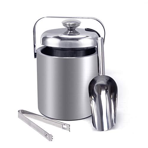 Joeji's Eiswürfelbehälter mit Deckel Edelstahl 1.3 L, Eiseimer mit Deckel und Zange, Sektkühler Edelstahl, Eimer mit Deckel toll für Parties