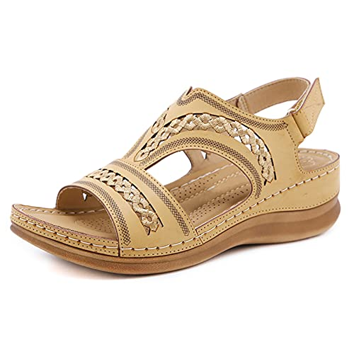 Plus Size Women Retro Stitching Hollow Out Hook Loop Hand Made Wedges...
