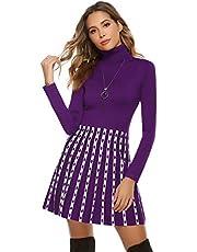 Hawiton Damklänning i utställt snitt elegant stickad tröja långärmad vinterklänning med fashionabla mönster i ränder utseende lång tröja för kontor fritid och fest