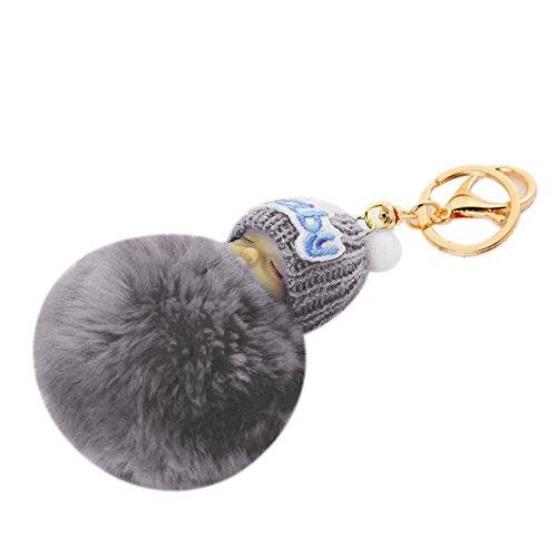 Steellwingsf Lindo colgante de pompón bebé dormido mujeres bolso llavero llavero decoración (gris)